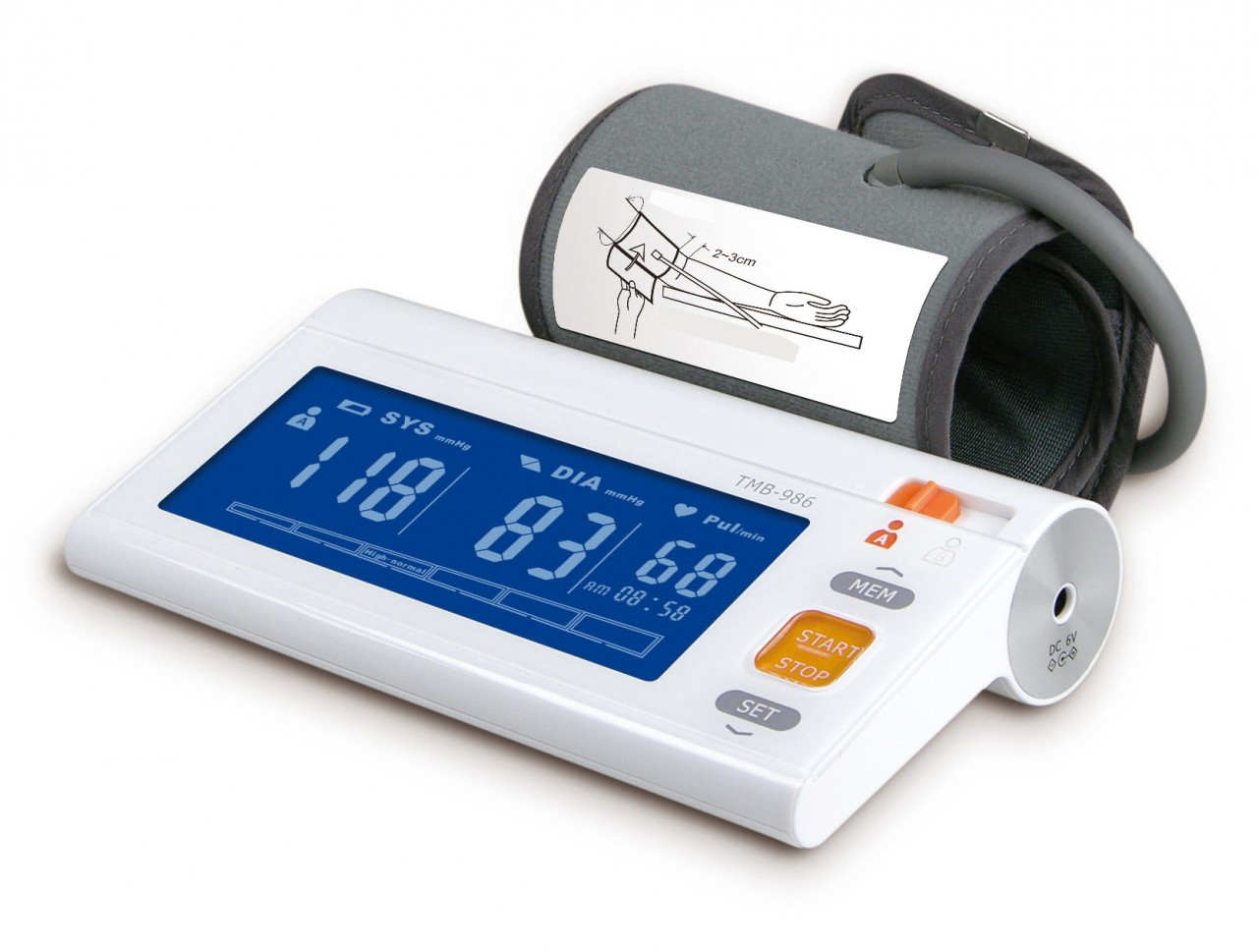 New Product - Please enter name hereEastShore TMB-986 Digital arm blood pressure monitor Large BLUE LCD. Semi Hard cuff . (120 Memory , WHO indicator)