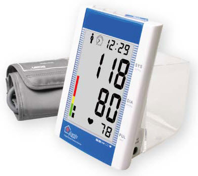 DESK ARM BLOOD PRESSURE MONITOR WITH CLOCK AND AMBIENT THERMOMETER