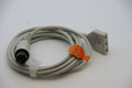 AAMI 6 Pin ECG TRUNK Cable - 3 Lead DIN Criticare Datascop Welch-Allyn