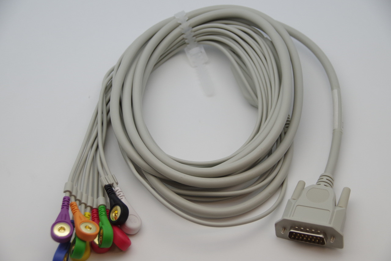 ECG/EKG CABLE FOR CONTEC ECG80A ECG100G/300G/600G/1200G ECG/EKG , 12 LEADS (10 WIRE) , SNAP