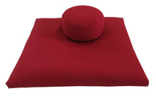 Round Buckwheat Zafu and Zabuton Set, Red