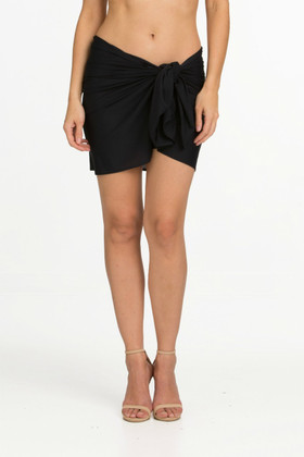 Black Half Panel Pareo Cover Up FT-405