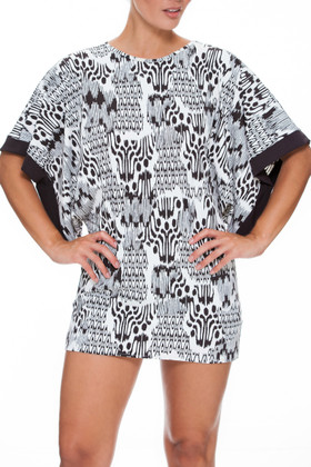 Brown and Ivory Tunic Cover Up CM-435