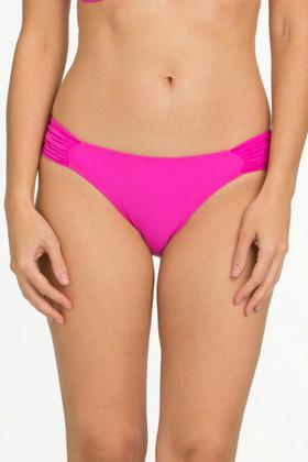 Pink Ruched Tab Bikini Bottom CA-258
