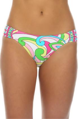 Floral Ruched Tab Bikini Bottom RA-258