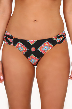 Black and Coral Bikini Bottom MK-258