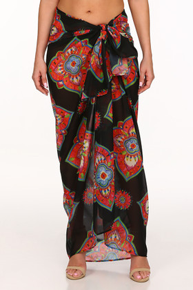 Black and Coral Pareo Cover Up MK-406