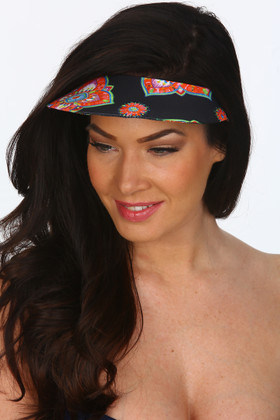 Black And Coral Covered Visor MK-501