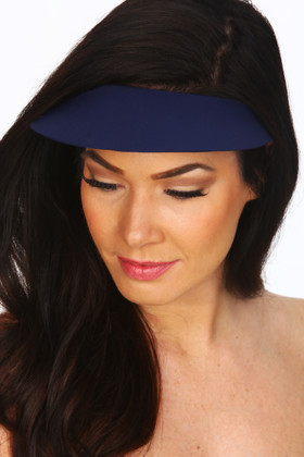 Navy Blue Lycra Covered Visor  NV-501