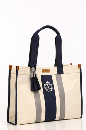 Tara Grinna Ultimate Stripe Tote-Navy/Gray