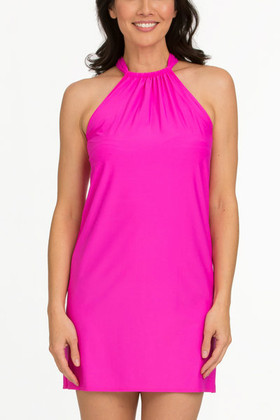 Pink Halter Dress Cover Up CA-409