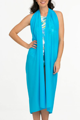 Turquoise Full Panel Pareo Cover Up TU-406