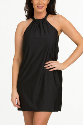 Black Halter Dress Cover Up FT-409
