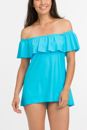 Turquoise Off Shoulder Flounce Swimdress TU-165