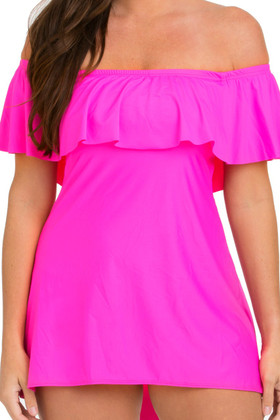 Candy Pink Off Shoulder Flounce Swimdress CA-165