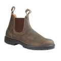 Blundstone 585 Rustic Brown Nubuck. Rustic Brown leather elastic sided boot. Leather lining offers additional comfort. V cut upper reduces stitching exposure. PORON® XRDTM in the heel strike zone for increased shock protection