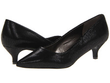 Trotters Paulina Black Patent Suede Lizard.  Soft suede upper styled in a classic silhouette. Features a slip-on design for easy on and off. Synthetic lining and a padded synthetic footbed ensure comfort and support for all-day wear.