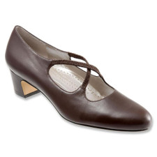 Trotters Jamie Mocha . From dress slacks to the dance floor. Our cross-strap pump is available in soft kidskin leather or microfiber. Elasticized gore straps for a custom fit. Padded footbed and flexible outersole for extra comfort.