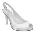 Satin Party Ariel White. Gorgeous sling back sandal on a platform. Dyeable satin.