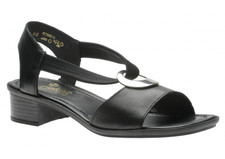 Rieker 62662-01 Black Leather Sandal. Halter strap gives security on the foot. Can be worn dressy or as a casual