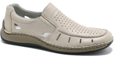 Rieker 05276-60 Beige Men's Casual This is a great style for this spring and summer. Delicate cutouts adorns the Rieker 05276-60. Can be worn as a dressy casual. Nice with a pair of dress pants and a nice shirt to go out on the town.  Constructed with a leather uppers and a nicely padded leather insole (sock lining) A padded collar surrounds the foot plus its on a lightweight sole.