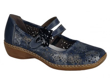 Rieker 41372-90 Blue Combo Velcro Leather The Rieker 41372-90 Shoes Blue Pattern are a gorgeous Mary-Jane styled shoe which are perfect for work or casual day wear, featuring a pretty blue patterned leather upper with a pretty laser-cut floral design finished off with a crossover velcro strap and 3D flower detailing