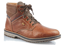 Rieker 39223-26 Brown Mens Boot The brown lace-up boot 39223-26 for men by Rieker is equipped with the RiekerTex waterproof membrane! For added warmth, this style is real wool lined.