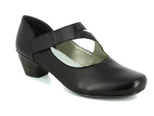 Rieker 41793-00 Womans Black Mary Jane Pump Rieker have designed these gorgeous womens heeled shoes in a key and versatile black leather with attractive asymetric strap fastening. This pretty yet practical Rieker heeled Mary Jane style is soft and supple uppers mould around yoiur feet straight away for instant comfort while the black leather will compliment almost any outfit. The velcro fastening allows easy ajdustments while cushioning your foot. Buy the Rieker 41793-00 from Vimi Shoes at Moose Creek Mall.