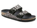 Birkenstock Arizona Womens Black Metallic Stones Orthotic footbed provides excellent arch and metatarsal support. Durable EVA outsole, cork footbed molds to each individual foot to provide a custom fit. From the Iconic Model Collection Real suede leather sockliner.
