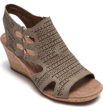 Rockport Cobb Hill Janna Womens Khaki Wedge Sandal Laser-cut perforations, breathable textile footbeds and elastic-cord detailing ensure these wedge-boosted sandals are supremely comfortable when the temps start to rise. Style Name: Rockport Cobb Hill Janna Perforated Wedge Sandal (Women)