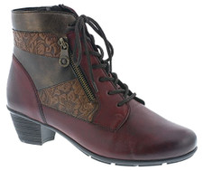 Remonte R7570-35 Women's Wine Combo Bootie REMONTE R7570-35 Wine Combo style is a multi coloured bootie with features a cleverly designed technical interior. Inside zip for easy entry. Lightweight, flexible soles and replaceable insoles with shock-absorbing qualities guarantee relief with every step. Fashion meets quality