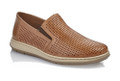 Rieker 17376-25 Men's Light Brown Loafer The 17376-25 is a great men's leather casual from Rieker in light brown leather with perforations. The shoe has extra width so that it also fits a slightly wider foot. It has elastic wedges in the sides for greater flexibility, removable leather cover sole and a PU outsole. A very light and airy model to wear.