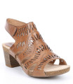 """Josef Seibel Sunny 2 Women's Nuss Brown Sandal. The Sunny 2 sandal from Josef Seibel is constructed on a 2"""" block heel. Laser cutout details adorns this style. Leather uppers, leather linings on a durable rubberized sole. A hook and loop (velcro) fastener for quick on and off on the back strap. Perfect for a night out or the office"""