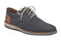 Rieker 16815-14 Men's Blue Lace Casual. These stylish lace-up Rieker 16815-14 shoes in blue nubuck leather is contructed with a constrasting eye catching heel. The light coloured laces emphasize their sporty and trendy nature. The innersole guarantees optimal wearing comfort with any step. An accent colour was added to the back cap to loosen up the shoe a little. The outsole has three layers in black, grey and white. So it can be cleverly combined to many suits.