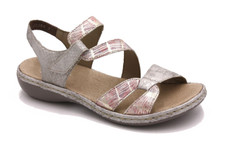 Rieker 65969-90 Ladies Grey Combo Velcro Sandal. The Rieker 65969-90 are a combination of pale pink and silver reptile print with straps that zig zag across the foot. The strap around the ankle closes with hook and loop fastening. Extra padded beige insole make them super comfortable.