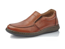 Rieker 17370-24 Men's Brown Slip-On Casual The Rieker 17370-24 leather casual has two elastic side panels for self-adjustability. These casual shoes are very lightweight and includes a soft footbed for added comfort. Anti-stress system ensures better fit.