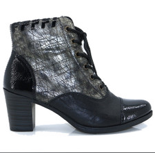 Rieker Y8938-00 Women's Black and Pewter Ankle Bootie. Y8938-00 is a stylish casual everyday boot by Rieker. Enhanced with a multi tone leather upper with patent details along with an inner zip fastening and lace up front. Soft warm fleece lining. The block heel height is 2.75 inches. Durable rubber type sole. These are great all rounder comfortable boots. With a trendy fashionable look.