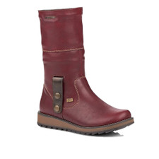"""Remonte D8874-35 Women's Burgundy Boot 8874 by Remonte is a charming mid-calf boot that adds style to any outfit and comfort no matter how long you are on your feet! The leather upper is combined with a """"Tex"""" membrane to provide waterproof properties to the boot. The fur lining provides warmth and the rubber antistress soles make long walks easy and comfortable. Pair it with your favorite leggings for the cutest winter look! leather upper zipper closure fold over fur cuff waterproof fleece lined rubber antistress soles"""