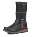 """Remonte D8874-01 Women's Black Boot. D8874 by Remonte is a charming mid-calf boot that adds style to any outfit and comfort no matter how long you are on your feet! The leather upper is combined with a """"Tex"""" membrane to provide waterproof properties to the boot. The fur lining provides warmth and the rubber antistress soles make long walks easy and comfortable. Pair it with your favorite leggings for the cutest winter look! leather upper zipper closure fold over fur cuff waterproof fleece lined rubber antistress soles"""