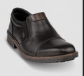 Rieker B1359-00 Men's Black Slip on Casual Rieker B1359 black slip on shoe has a water repellent Tex membrane looks smart enough to wear with trousers or can be worn equally well with jeans for a casual look. Rieker B1359-00 Black Leather Slip on If you're looking for the perfect mix between fashion and comfort, look no further! The Rieker collection offers beautiful product with a European flair and functional features so you'll not only look good, but feel good too. Every shoe incorporates their special construction and utilizes lightweight and elastic components to achieve unique anti-stress features. The upper material is a high quality leather and the insole made of genuine leather is super softly padded, making it a great day to night shoe