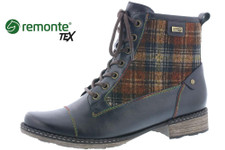 Remonte D4354-14 Women's Blue with Plaid Bootie. The Remonte D4354-14 bootie brings a rustic looking heel to your outfits with a touch of plaid this Fall! Waterproof - Water repellent MEMBRANE (a layer found between both the inner and outer material) that keeps feet dry while wicking moisture out. The uppers are water resistant to zipper height. Adjustable lace up with a side zipper make it easy for on and off. Incorporates a removable footbed