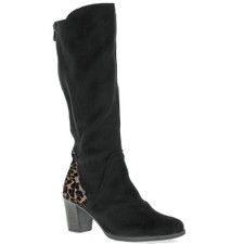 The Y8987-00 black vegan suede knee boot from Rieker surely hits the nail on the head as a fashion statement. Elegant high heeled boot with leopard print detail on the heel. Comes with a back zipper to adjust for leg shaft size and a inside zipper for easy on and off. Perfect for the office or dress up.