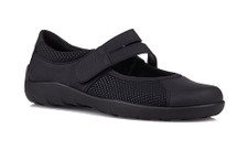 Remonte R3510-02 Women's Black Mary Jane Comfort never looked as stylish as it does in the Remonte Namur/Scub mary-jane by Rieker R3510. This mary-jane inspired shoe has an upper made of synthetic materials with perforation detail. Dual straps with a velcro hook-and-loop closure make for on/off ease and create a secure fit. The insole is lined and padded for comfort and support. The rubber outsole aids in stability and offers traction on a variety of surfaces. With super soft leathers and lots of cushioning the R3510 can be worn all day with comfort.