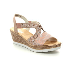 Rieker 61916-31 Women's Rose Wedge Sandal. Rieker 61916-31 is a stunning wedge sandal made with high quality uppers. It has a mottled effect and with perforated ankle strap with diamente studs to a add a touch of bling to your feet. Elastic panels on either side of the ankle strap help to easy slipping by giving you the best possible fit. Wear these rose metallic wedges with dresses or cropped jumpsuit this summer. Buy your Rieker sandals from Vimi Shoes an authorized Rieker retailer in Moose Creek Mall.