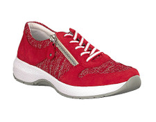Remonte R8911-33 Women's Red Walker. The Remonte R8911-33 by Rieker has a foot-pampering soft leather insole will ensure that the sneaker that will become on of your favourite pieces in the shoe closet. . The mix of nubuck leather and patterned textile is skilfully rounded off with the white outsole and diagonal zipper, which makes the sometimes annoying use of the lacing superfluous. With this ladies sneaker Remonte achieves the perfect combination of trendy design and incomparable wearing comfort.