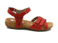 Remonte R3269-33 Women's Red Velcro Sandals The Remonte R3269-33 women's comfort sandals feature a red leather upper with pretty floral perforations. There are four points of adjustability on the toe, ankle and heel straps by velcro to offer width adjustability. Contracting stitching adds interest whilst the cork mounded footbed keeps the summery look going. Wearable with jeans, skirts and dresses, these versatile summer sandals are stunning.
