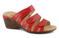 The CALGARY 01 Red wedge sandal from Romika is the perfect sandal to compliment any wardrobe. Featuring a vegan upper with adjustable strap for a secure fit. Easy slip on styling . The Calgary 01 wedge sandal is designed with a PU outsole. You will want to put the Calgary 01 on your must-have list for this season!