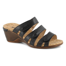 The CALGARY 01 black wedge sandal from Romika is the perfect sandal to compliment any wardrobe. Featuring a vegan upper with adjustable strap for a secure fit. Easy slip on styling . The Calgary 01 wedge sandal is designed with a PU outsole. You will want to put the Calgary 01 on your must-have list for this season!
