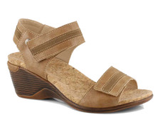 The CALGARY 03 light tan wedge sandal from Romika is the perfect sandal to compliment for your wardrobe. Featuring a vegan upper with adjustable strap for a secure fit. Easy slip on styling . The Calgary 03 wedge sandal is designed with a PU outsole. You will want to put the Calgary 03 on your must-have list for this season!
