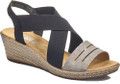 Rieker 62499-40 Look your best this summer with this wedge by Rieker. This multi-funtional sandal make an idea compagnon for all your summer outhings. The antistress footbed is ideal for night time or day time.